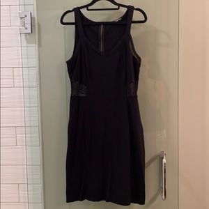 Black Bodycon Dress with Mesh Accents